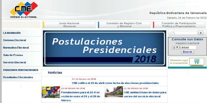 Portal del CNE - Postulaciones presidenciales