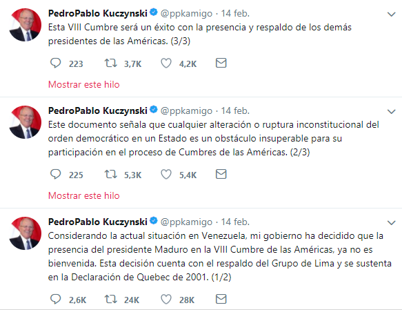 Tuits de Pedro Pablo Kuczynski sobre Maduro - Cumbre de las Américas