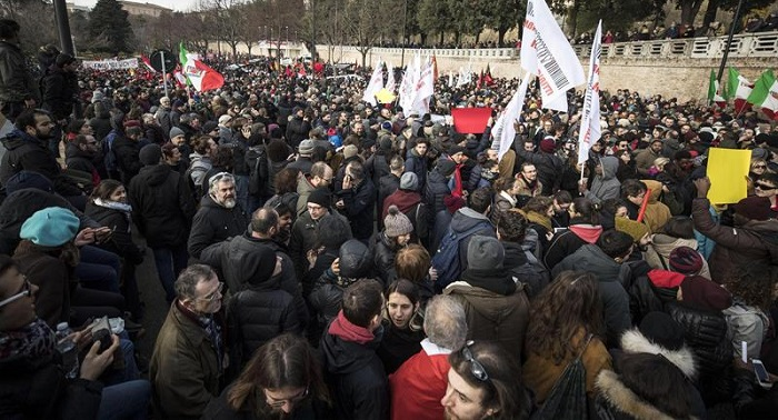 protesta contra el fascismo y racismo italia 1