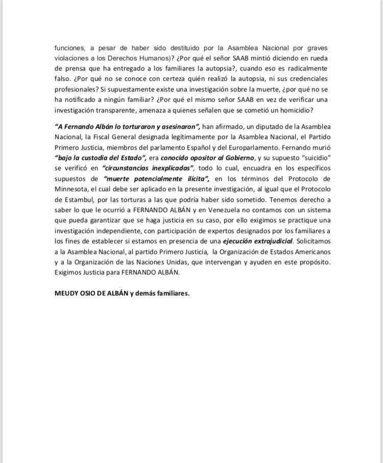 Comunicado familia Fernando Alban
