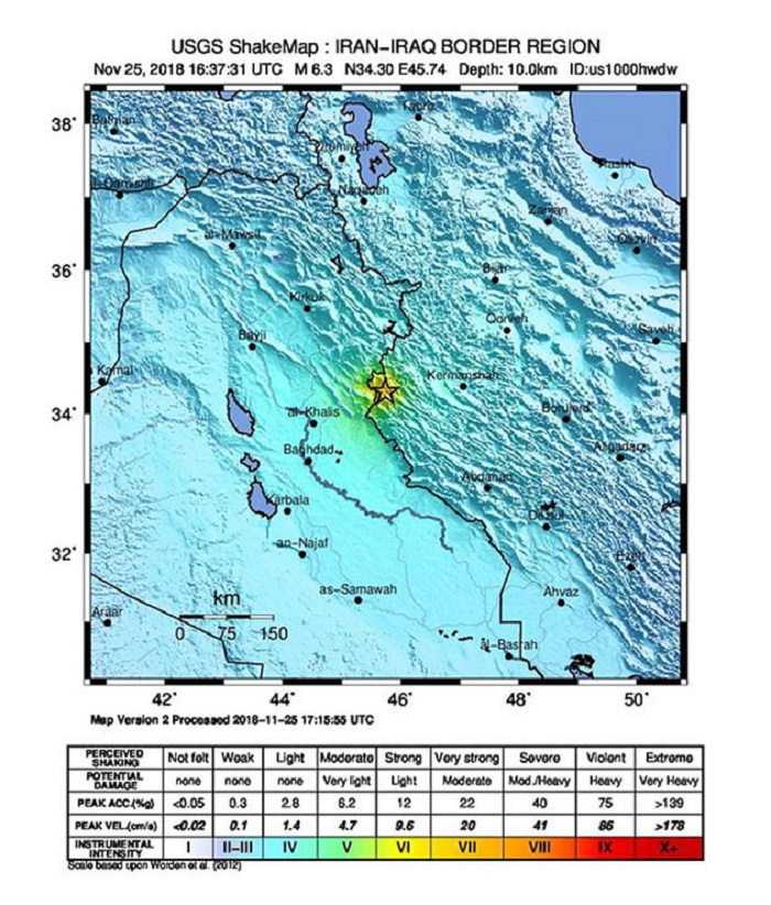 Sarpol-e Zahab (Iran (islamic Republic Of)), 25/11/2018.- A handout photo made available by the United States Geological Survey (USGS) of a USGS Shake Map showing the location of the 6.3 earthquake that has hit 20km South SouthWest of Sarpol-e Zahab, Iran, 25 November 2018. Current reports have no information on damage or injuries. (Terremoto/sismo, Estados Unidos) EFE/EPA/USGS / HANDOUT HANDOUT EDITORIAL USE ONLY/NO SALES