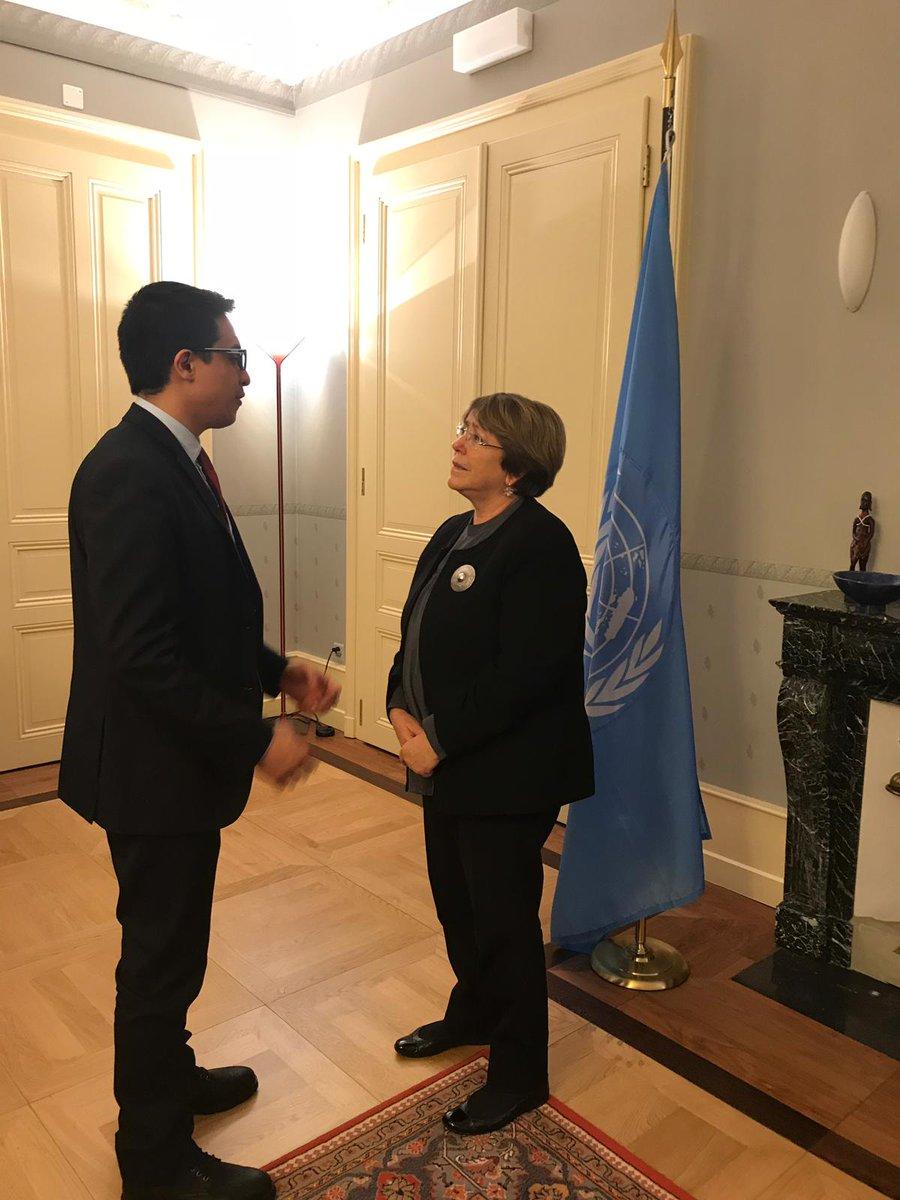 Lorent Saleh con Michelle Bachelet de la ONU