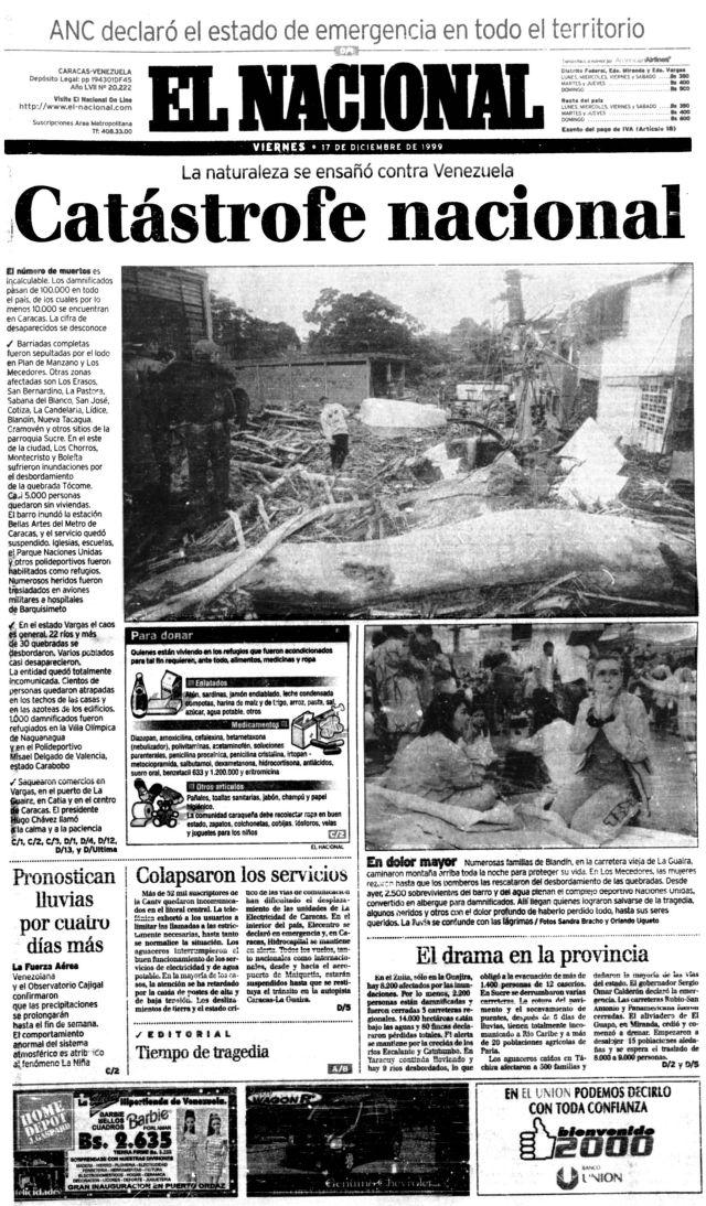 Portada El Nacional del 17 de diciembre de 1999