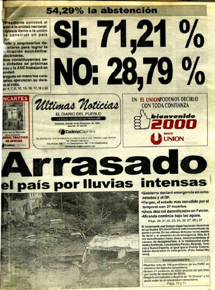 Portada Últimas Noticias del 16 de diciembre de 1999